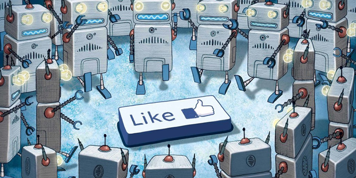 A picture of bots around a like button