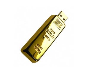 A picture of a gold bar usb